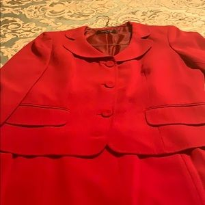 Kasper 2 piece red Skirt suit.